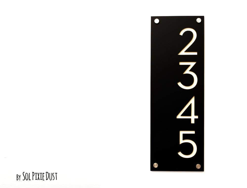 Modern House Numbers, Black Acrylic with Beige Acrylic - Vertical 2 - Contemporary Home Address -Sign Plaque - Door Number