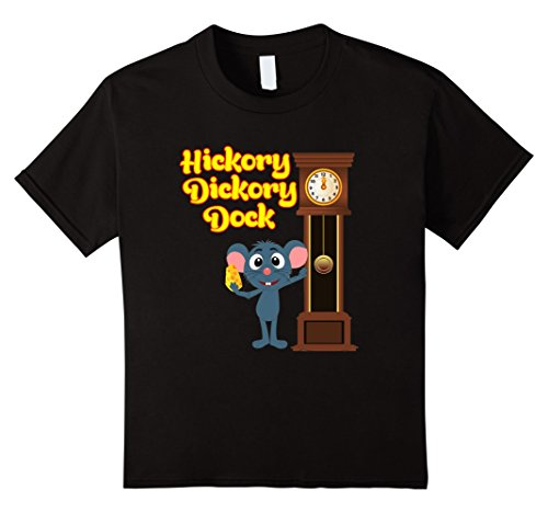 Kids Hickory Dickory Dock Nursery Rhyme T-Shirt Adults and Kids 6 Black