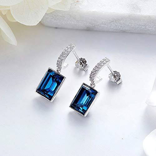 CDE 925 Sterling Silver Dangle Drop Earrings Swarovski Crystals Sapphire Fine Jewelry for Women Gift (Magical Meteorite) by CDE (Image #5)