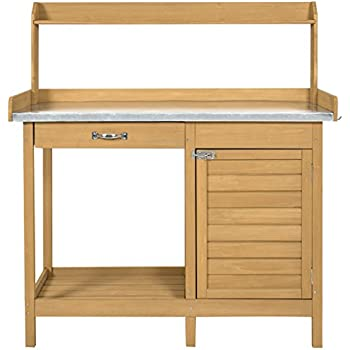 Best Choice Products Outdoor Garden Wooden Potting Bench Work Station  W/Metal Tabletop And Cabinet   Natural