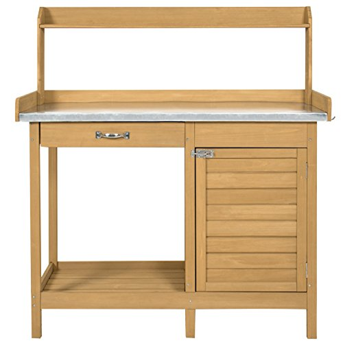 (Best Choice Products Outdoor Garden Wooden Potting Bench Work Station w/Metal Tabletop and Cabinet - Natural)