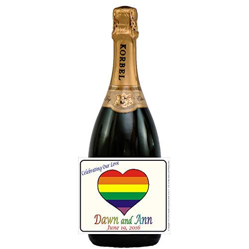 Rainbow Heart Wine, Champagne or Beer Wedding Labels (set of 24)(L262)