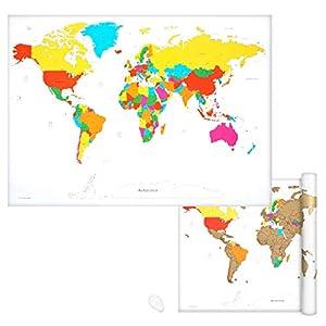 Navaris Mapamundi rascable – Póster grande para pared – Marca los países a los que has viajado y planea futuros viajes – Incluye rascador – Blanco