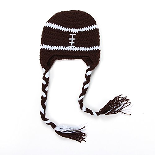 Baby Boys Girls Toddler Handmade Hat Crochet Knit Earflap Beanie Cap (Football)