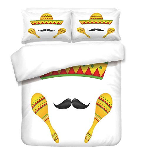 YCHY 3Pcs Duvet Cover Set,Mexican Decorations,Famous Centerpiece Icons Sombrero Moustache Rumba Shaker Mesoamerican Image,Yellow,Best Bedding Gifts for Family/Friends