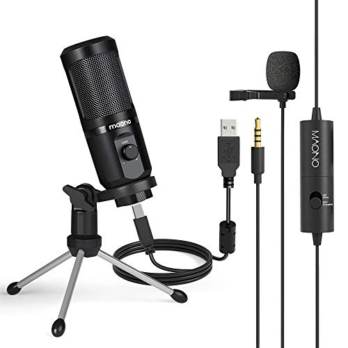 Computer Microphone with lavalier Microphone MAONO Cardioid Condenser Computer Mic Gain for Recording, Streaming, Podcasting, Voice Over, YouTube, Twitch, Skype, PC, Laptop, Desktop, PM461TR, AU100
