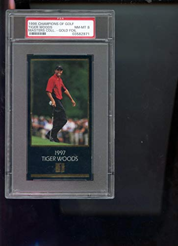 1997 GSV Grand Slam Ventures Champions Of Golf Masters Collection Gold Foil Tiger Woods ROOKIE RC PSA 8 Graded Golf Card
