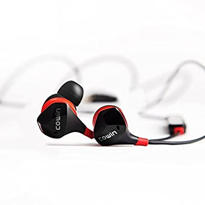 COWIN HE8 Active Noise Cancelling Bluetooth Earbuds, Wireless In-Ear Bluetooth Headphones with Hard Travel Case Built in Microphone Volume Control Enhanced Bass Ear buds 1- Black