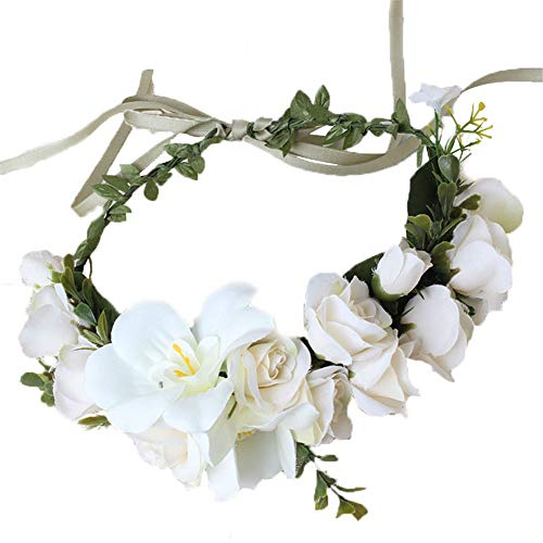 Tutuziyyy Women Flower Wreath Handmade Adjustable Lily Headband Halo Crown Floral Wedding Garland Headband