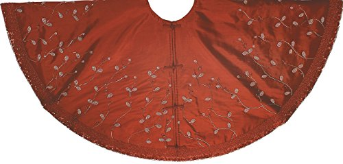 Arcadia Home Red Silk Christmas Tree Skirt with Silver Beaded Branches