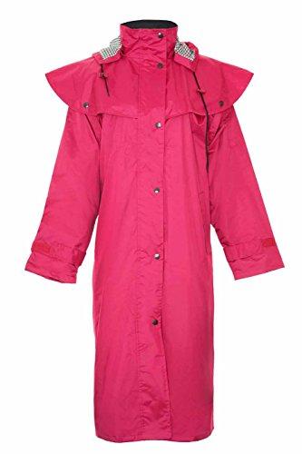 Damen Lang voller Länge Wasserdicht Riding Regen Coat (12, rot)
