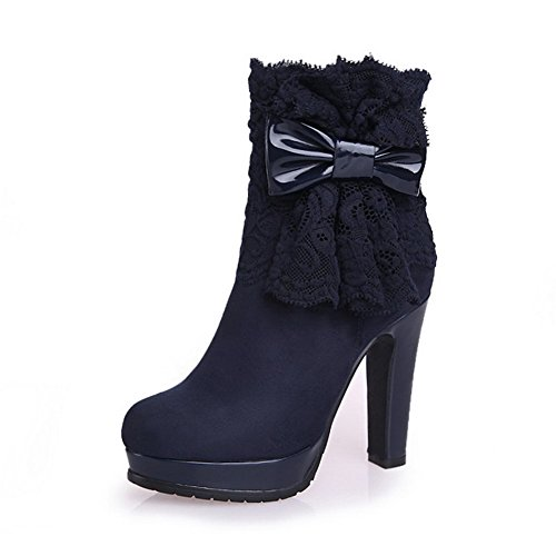 AllhqFashion Womens Imitated Suede Frosted High-Heels Boots With Bow-Tie and Platform, Blue, 33