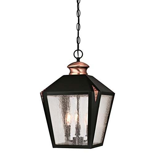 (Westinghouse Lighting 6339100 Valley Forge Three-Light Outdoor Pendant, Matte Black Finish with Washed Copper Accents and Clear Seeded Glass,)