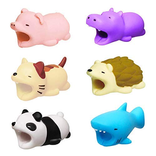 KIMCOME Cute Animal Bits Cable Protector 6 Pack, Cable Buddies Compatible iPhone iPad Charging Cords Protection