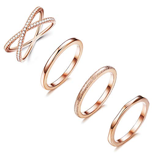 Set Wedding Cross Ring - LOYALLOOK 4PCS Stainless Steel Stacking Wedding Band Rings Women CZ Criss Cross Ring Girls Engagement Eternity Knuckle Mid Ring Set, Size 4-10