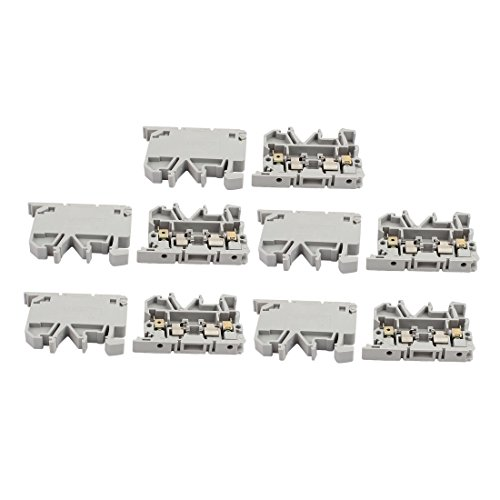 uxcell 10Pcs ASK1EN DIN Rail Mount Fuse Holder Terminal Block 500V 4mm2 Cable Gray