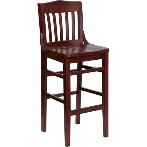 ULES Series School House Back Mahogany Wood Restaurant Barstool ()