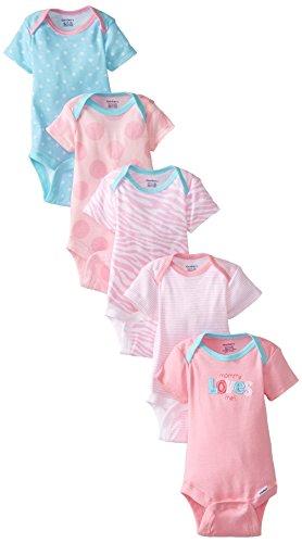(Gerber Baby Girls' 5-Pack Variety Onesies Bodysuits, Blue Zebra, 3-6 Months)