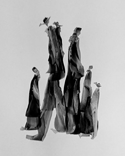 Black and White Abstract Gesture drawing with ink on Paper,Family of 6 by Red Studio Gallery