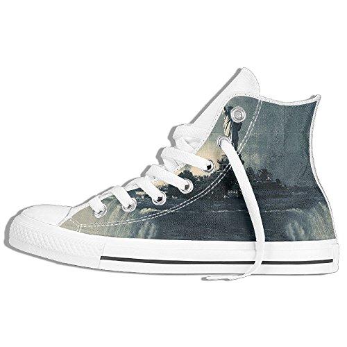 Classic High Top Sneakers Canvas Zapatos Antideslizante Monocromo Estatua Liberty Casual Walking Para Hombres Mujeres Blanco