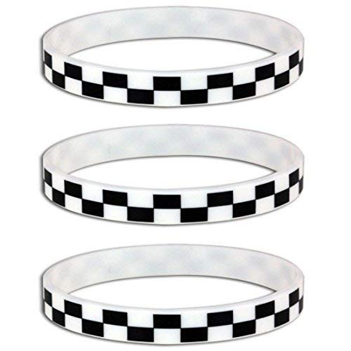 Silicone Black White Checkered Flag Racing Wristband Bracelets (12 Pack) ()