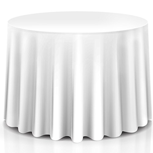 (Giantex 10 Pcs Round White Tablecloth 120-Inch, Premium Polyester Table Cover, Machine Washable, Durable Table Cloths for Wedding Reception Restaurant Banquet)