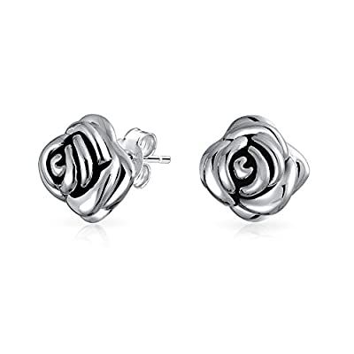 Mothers Day Gifts Large 925 Sterling Silver Rose Flower Stud Earrings