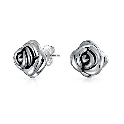 Bling Jewelry Large 925 Sterling Silver Rose Flower Stud Earrings