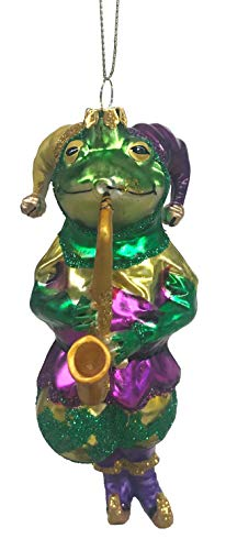 (December Diamonds Jester Frog with Saxophone Glass Christmas Ornament 7980446)