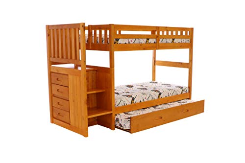 (Discovery World Furniture Mission Twin Over Twin Staircase Bunk Bed with Trundle in Honey Finish)