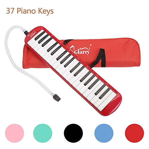 Glarry 37 Keys Melodica Musical Instrument for Music Lovers Gift with Two mouthpieces and Carrying Bag (Red)