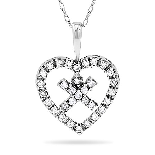 14k White Gold Heart and Kiss XO Diamond Pendant Necklace, 18 Inch Chain ()