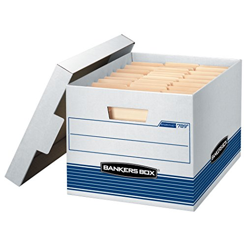 Corrugated Box Strength - Bankers Box STOR/File Medium-Duty Storage Boxes, Quick Set-Up, Lift-Off Lid, Letter/Legal, 4 Pack (0078907)