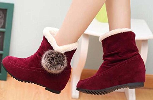 Cute Fur Suede Ankle On Naughtyangel Boots Warm Slip Ball Lining Red Boots Women 8xwIqYR