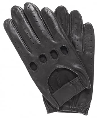 Pratt and Hart Men's Leather Driving Gloves with Velcro Strap Size S Color Black