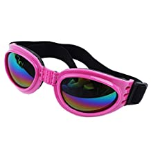 Large Dog Sunglasses, CROMI Foldable Big Dog UV Goggles Protection Pet Glasses Eyewear for Driving Cycling Motorcycle(Pink)
