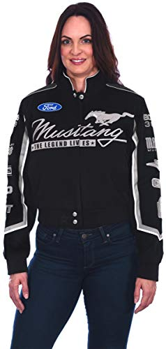 Twill Ford Mustang Jacket - Women's Ford Mustang Cotton Twill Jacket - Embroidered Snap-up Jacket. Winter Clothing (2X, Black & Gray)