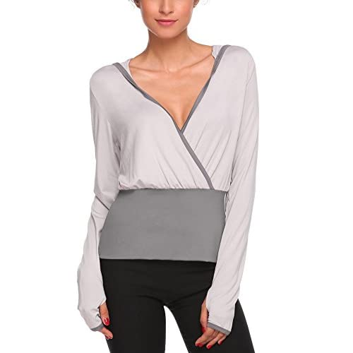 9d4a2ffdaf Elever Women Ballet Wrap Active Performance Hoodie Jacket With Thumb Hole  Gray best
