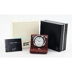 MONTBLANC BOHEME BROWN LEATHER TRAVEL ALARM CLOCK WATCH SWISS 9677