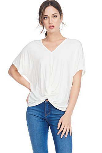 Alexander + David Womens Dolman Sleeve Jersey Knot Top V-Neck Blouse T-Shirt (White, -