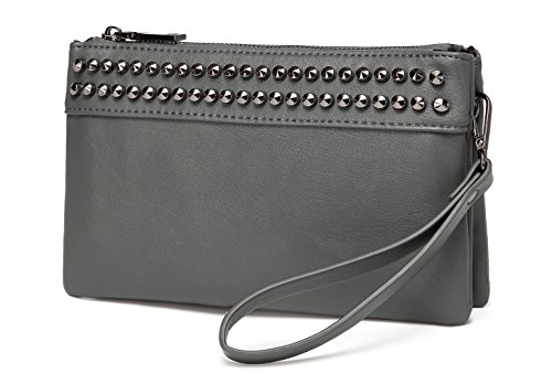 Wristlet Clutch Purses,VASCHY SAC Large Studs Soft Faux Leather Crossbody Evening Clutch Wallet for Women Gray by VASCHY