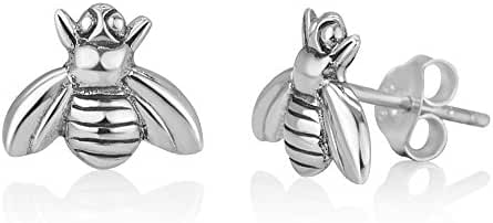 925 Oxidized Sterling Silver Little Bumble Bee Honey Animal Post Stud Earrings 9 mm