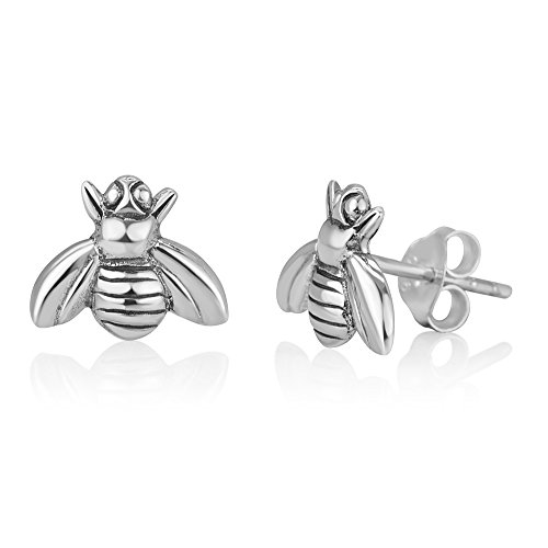 Sterling Silver Bumble Bee - 925 Oxidized Sterling Silver Little Bumble Bee Honey Animal Post Stud Earrings 9 mm
