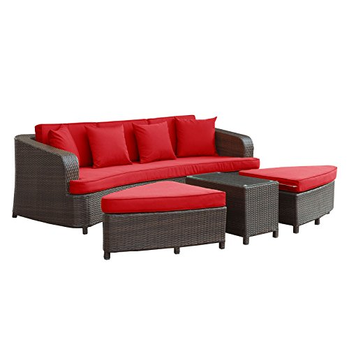 Modway Monterey Outdoor Wicker Rattan Sectional Sofa Set, Brown and Red (Rounded Sectional Outdoor Furniture)