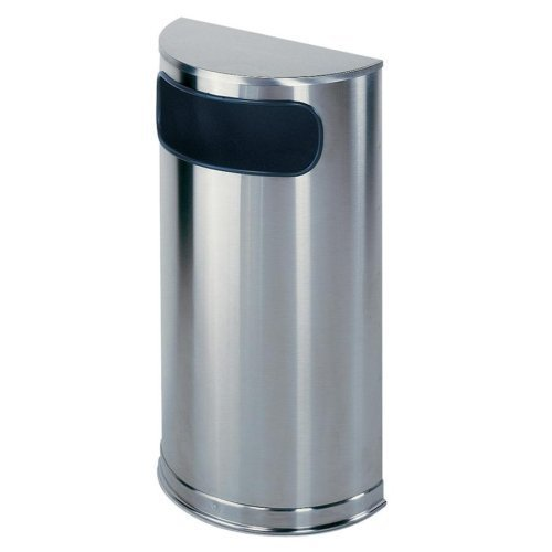 United Receptacle Inc . Round Wastebasket - United Receptacle Half Round Waste Receptacle - 9 gal Capacity - 32.0 Height x 18.0 Width x 9.0 Depth - Steel - Stainless Steel by United Receptacle