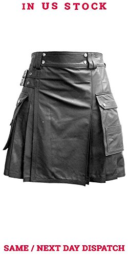 Olly And Ally Mens Black OR Brown Leather Gladiator Utility Kilt Flat Front Twin Cargo Pockets (K5T) (34