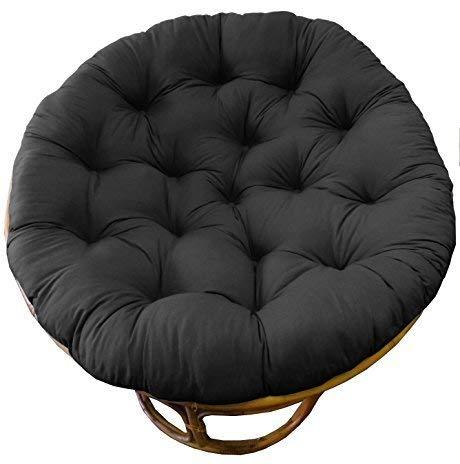 (Cotton Craft Papasan Chair Cushion Black, Pure 100% Cotton duck fabric, Fits Standard 45IN rnd Chair)