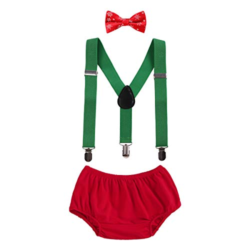 (Cake Smash Outfits Baby Boy 1st Birthday Christmas Costume Bloomers Party Suspenders Bowtie Clothes Set 3pcs Green+Red Snowflake)