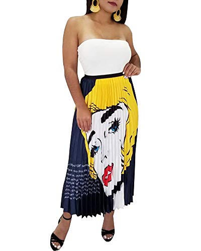 - Women's Graffiti A-Line Pleated Skirts Cartoon Printed Elastic Waist Vintage Swing Midi Skirt Yellow