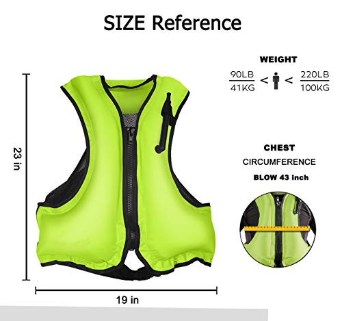 NAXER Inflatable Buoyancy Jackets Vests for Adults Kayak Kayaking for 90-220 lbs (Green)